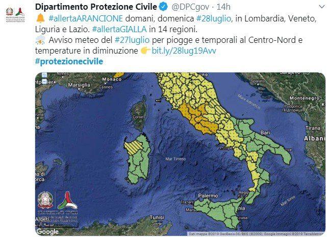 Allerta Maltempo della Protezione Civile, Arancione su 4 Regioni, Gialla su 14. (il meteo.it)