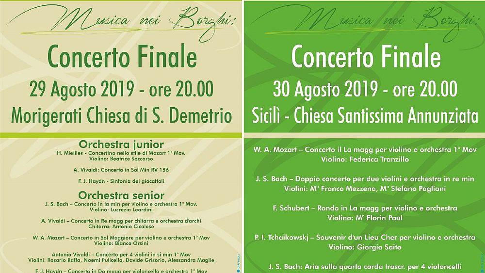 """Morigerati, """"Musica nei borghi"""": concerti nelle chiese – 29 e 30 Agosto 2019"""