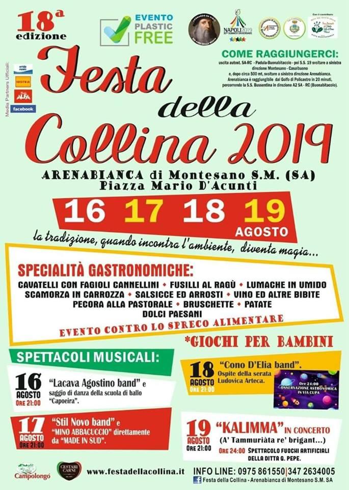 8 Festa della Collina 2018 Arenabianca di Montesano Programma - Arenabianca di Montesano, 18° Festa della Collina 2019 - dal 16 al 19 Agosto 2019