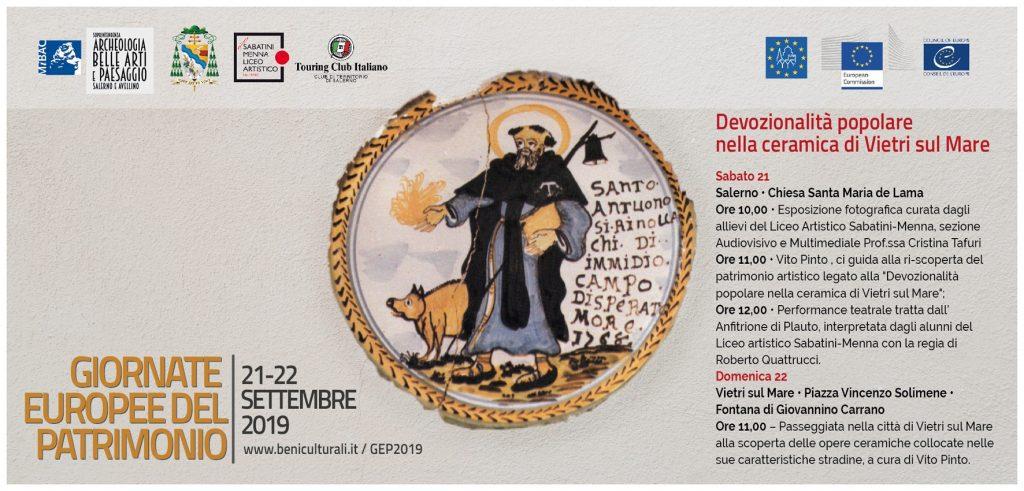 """21 e 22 settembre 2019 GIORNATE EUROPEE DEL PATRIMONIO  """"Un due tre..Arte! – Cultura e intrattenimento   Tutte le iniziative programmate nei musei e nei luoghi della cultura di Salerno e Avellino"""