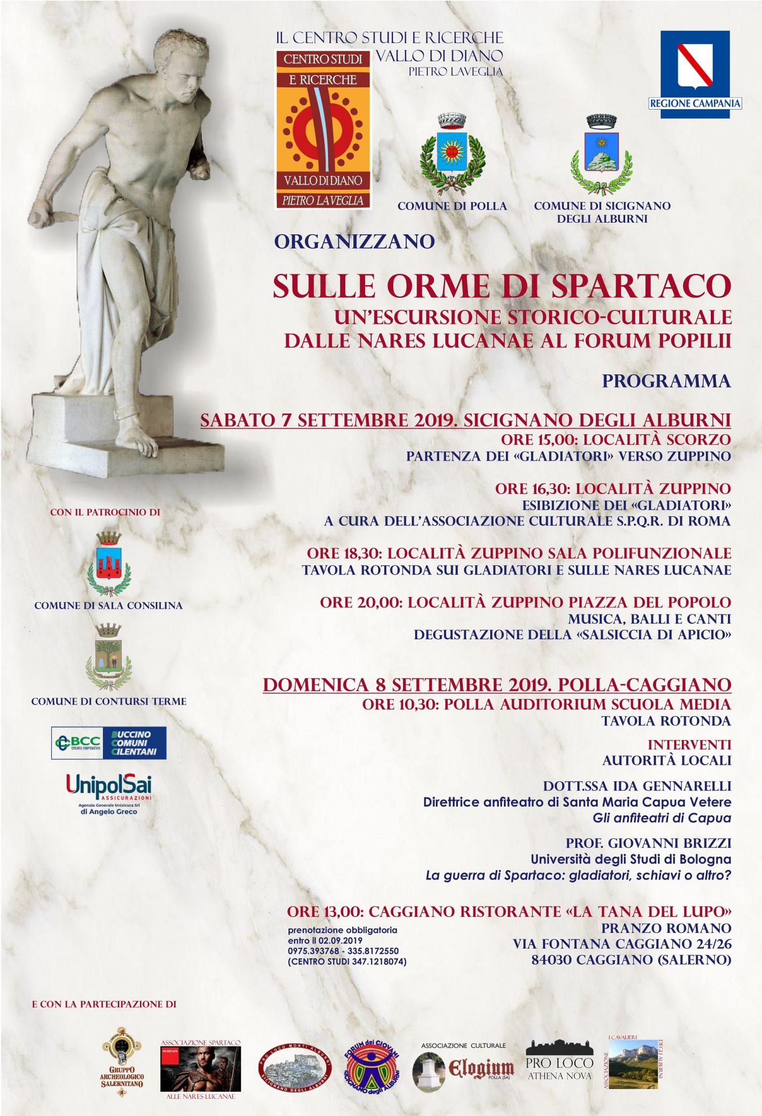 """Manifesto Spartaco 2019 ter - Escursione storico-culturale """"Sulle orme di Spartaco"""" tra Sicignano, Polla e Caggiano"""