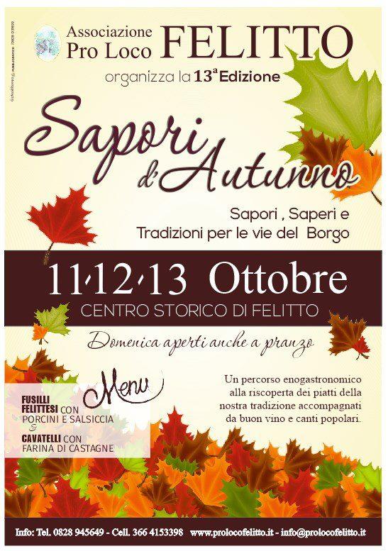 13 Sapori autunno 2019 Felitto Cilento Programma - Felitto, 13° Sapori d'autunno - dal 11 Ottobre al 13 Ottobre 2019