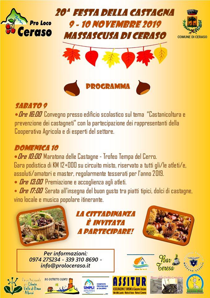 20 Festa della castagna 2019 Massascusa di Ceraso Programma 1 - Massascusa di Ceraso, 20° Festa della castagna - 9 e 10 novembre 2019