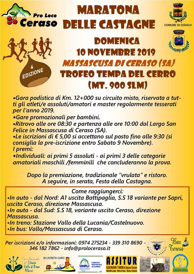 20 Festa della castagna 2019 Massascusa di Ceraso Programma gara podistica - Massascusa di Ceraso, 20° Festa della castagna - 9 e 10 novembre 2019