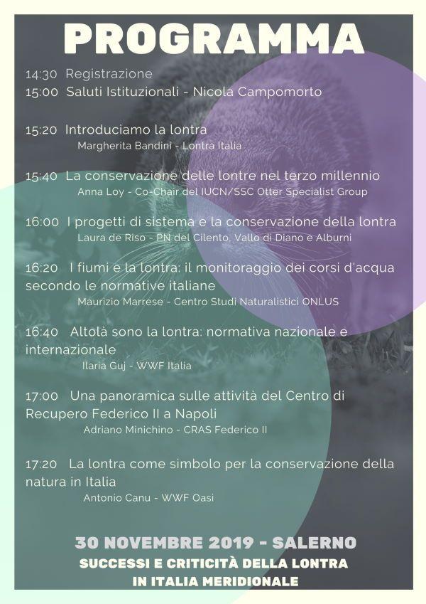 26112019 programma lontra - Salerno, L'ENPA organizza un convegno sulla lontra - 30 novembre 2019