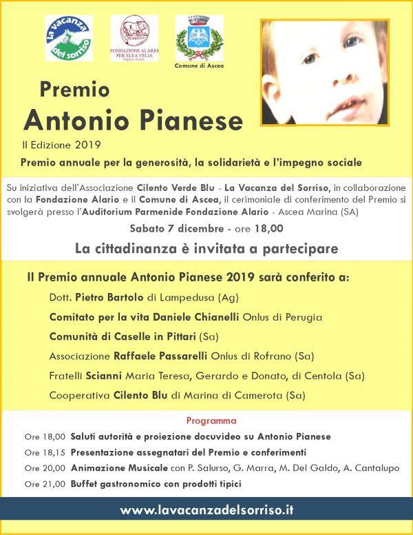 29112019 premio pianese 2019 - Fondazione Alario, Cerimoniale di conferimento Premio Antonio Pianese