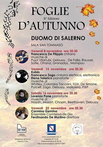 """foglie dautunno rassegna musicale - Duomo di Salerno, il programma di """"Foglie d'autunno"""""""
