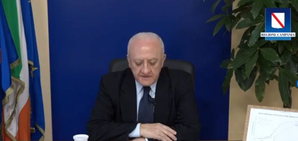 De Luca fa il punto della situazione in diretta streaming