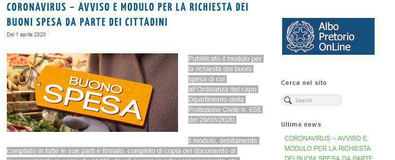 Pollica, pubblicato l'Avviso e il Modulo per la Richiesta dei Buoni Spesa