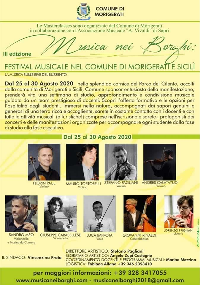 Musica Nei Borghi Masterclass 2020 Morigerati Cilento Locandina - Morigerati, Musica nei borghi - dal 25 al 30 agosto 2020