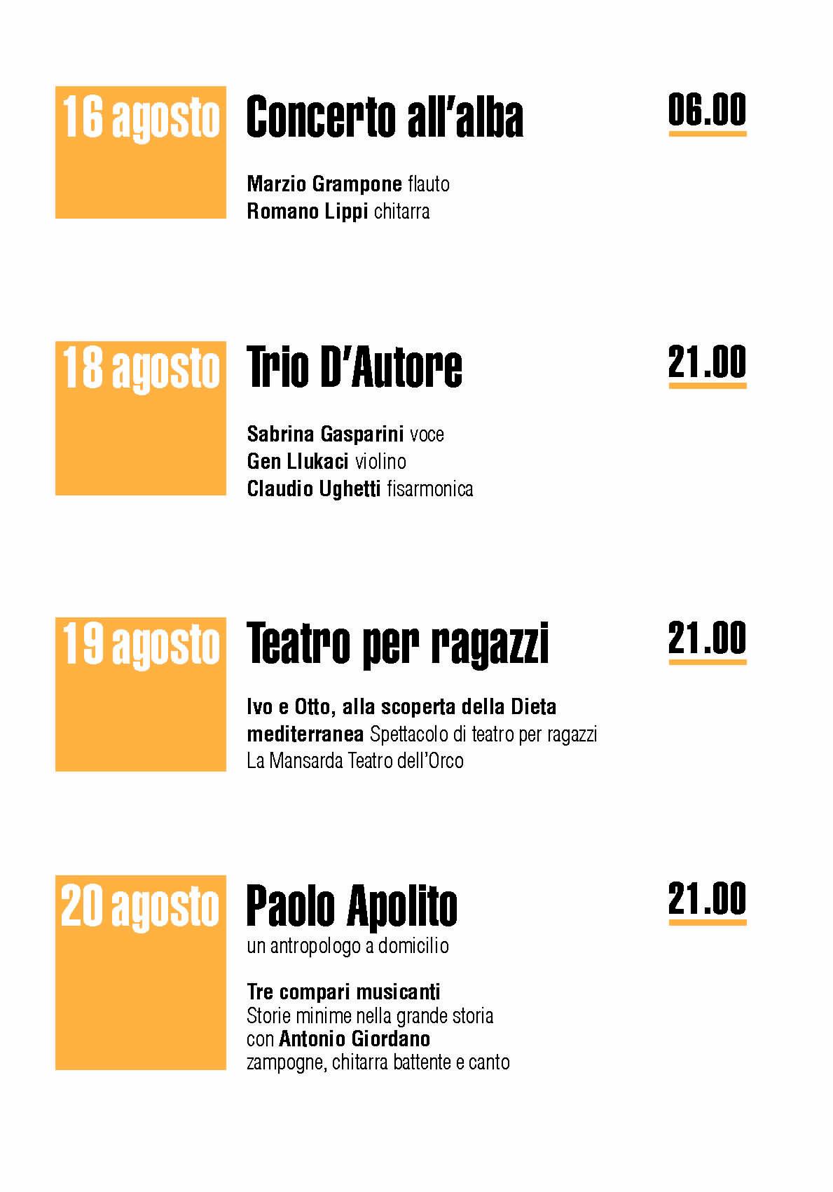 3 1 - Pioppi, 5° Festival della Dieta Mediterranea - dall'8 all'1 Settembre 2020