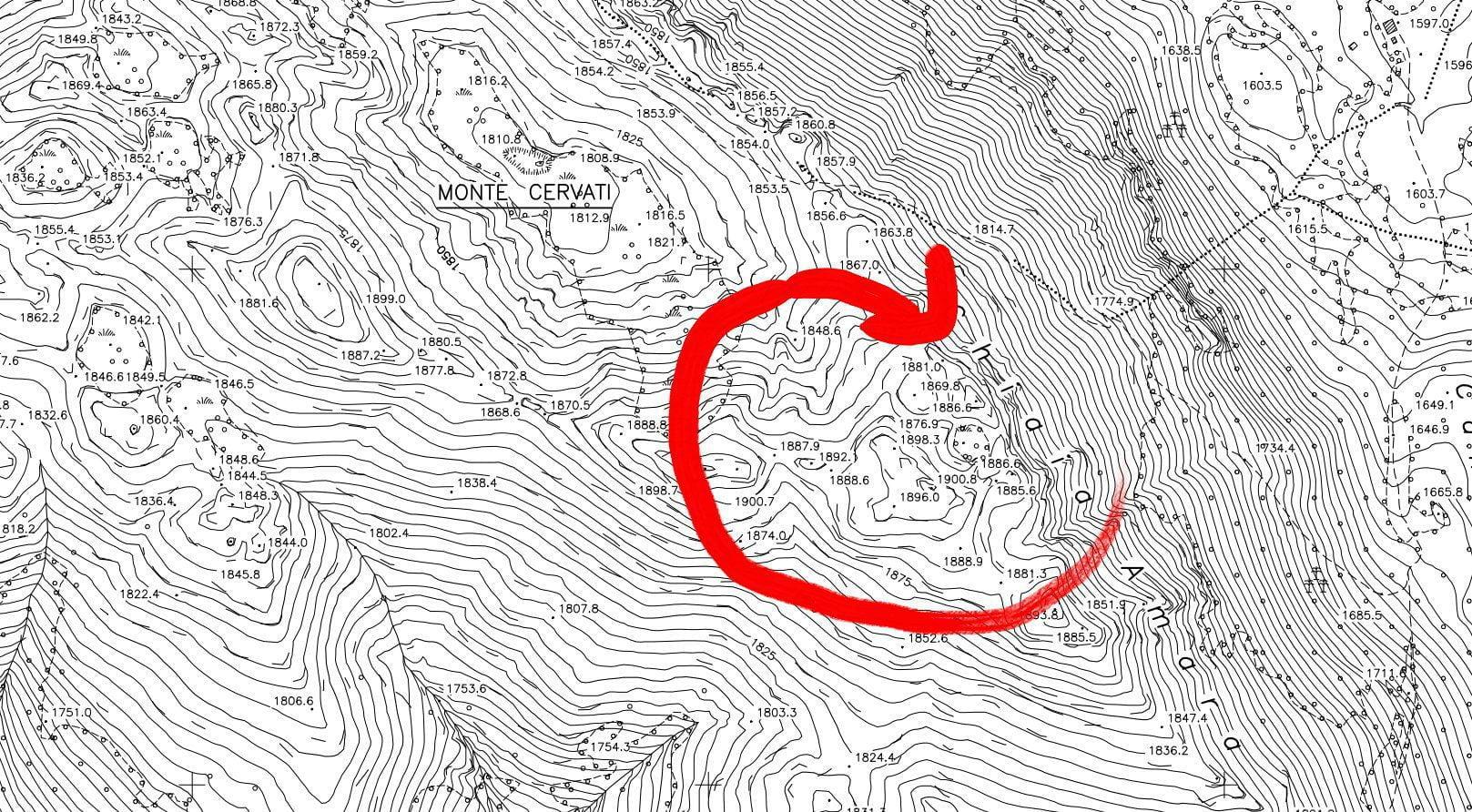 ingrandimentomappa - Cervati vetta piu' alta in Campania? Le precisazioni e la mappa in pdf, e non solo...