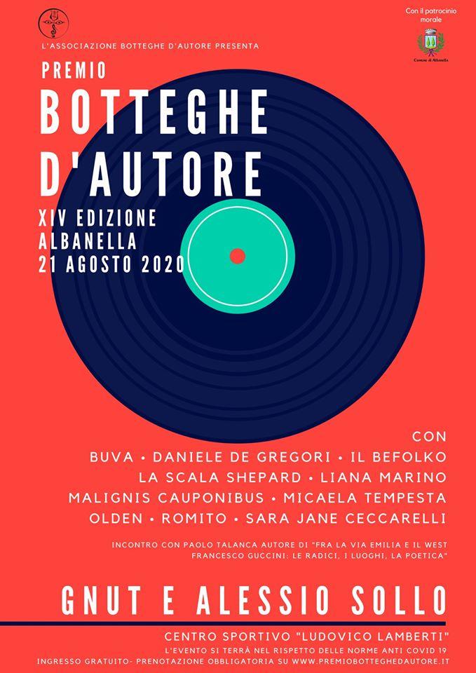 premio botteghe autore 2020 Albanella Cilento programma - Albanella, Premio Botteghe d'autore - 21 Agosto 2020