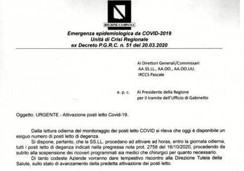 emergenza - Fanpage, finiti i posti letto nelle terapie intensive in Campania. (link all'articolo)