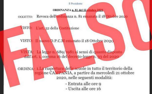 falso - Falsa ordinanza su riapertura scuole. Regione Campania: scatta la denuncia