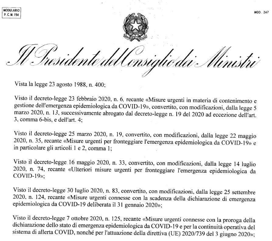 pdf dpcm - Nuovo Dpcm, le misure in vigore da oggi