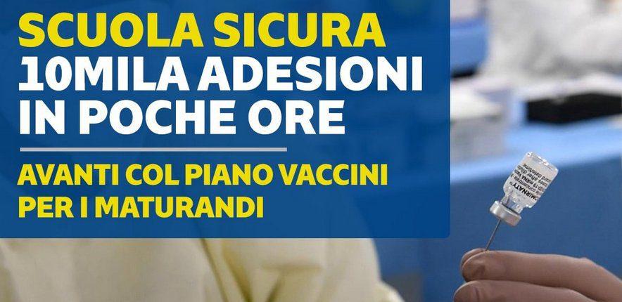 10mila - Campania: vaccinazione maturandi oltre diecimila adesioni.