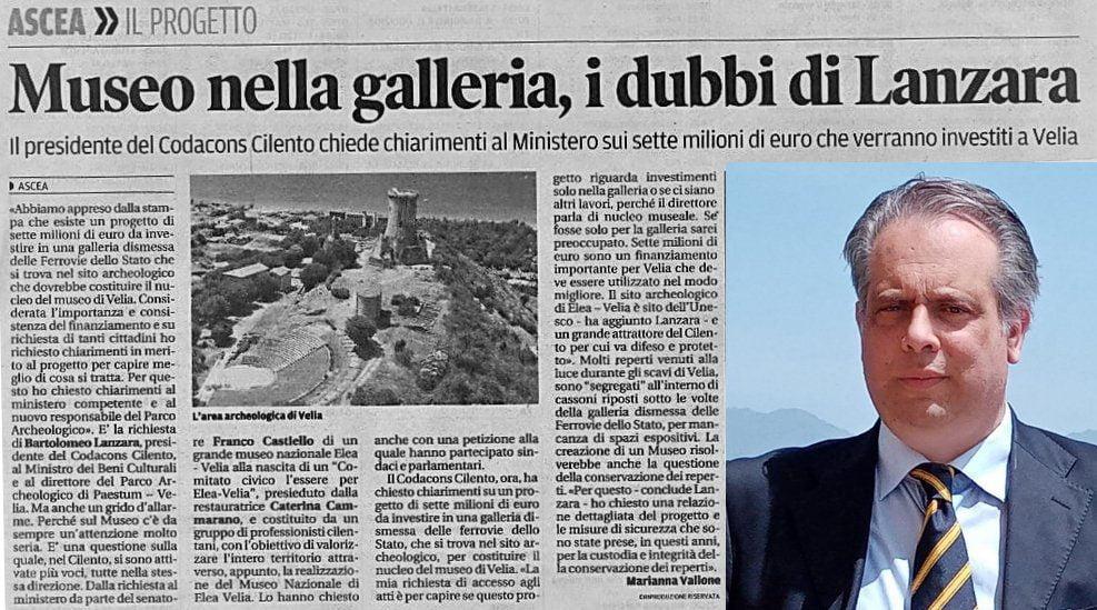 museo - Codacons Cilento e Sen. Corrado pongono all'attenzione la mozione di Castiello: Velia, PERPLESSITA' SUL PROGETTO DI RISTRUTTURAZIONE DELLA VECCHIA GALLERIA DISMESSA DELLE FERROVIE