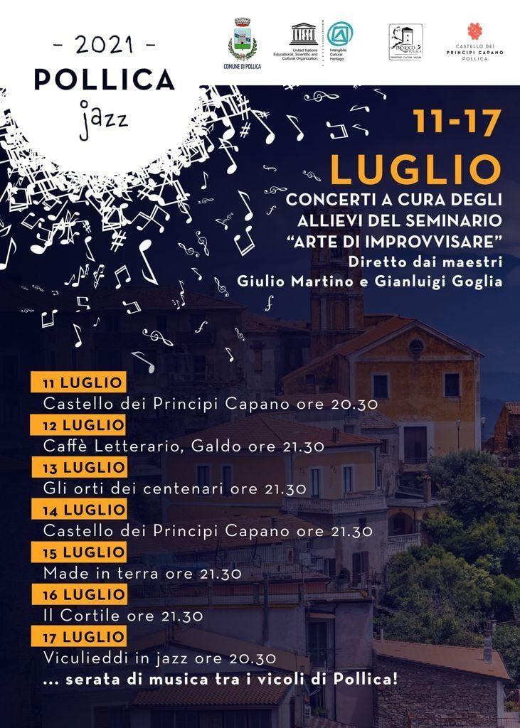 Pollica in Jazz 2021 concerti Cilento Programma - Pollica in Jazz - dal 11 al 17 Luglio 2021