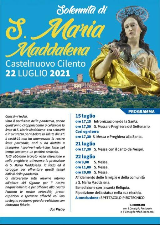 Solennita Santa Maria Maddalena 2021 Castelnuovo Cilento Programma - Castelnuovo Cilento, Solennità Santa Maria Maddalena - fino al 22/7/21