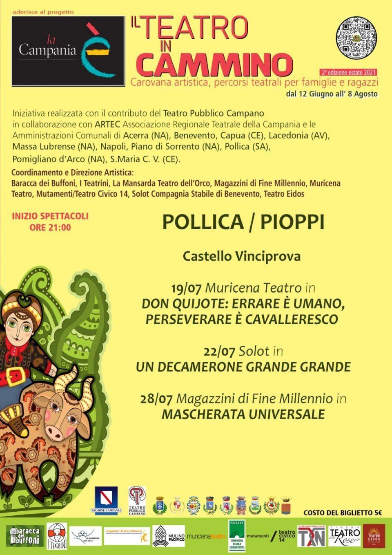 Teatro in cammino 2021 Piopp Pollica Cilento Castello Vinciprova Programma 960x1358 - Pioppi, Il Teatro in cammino - dal 19 al 28 Luglio 2021