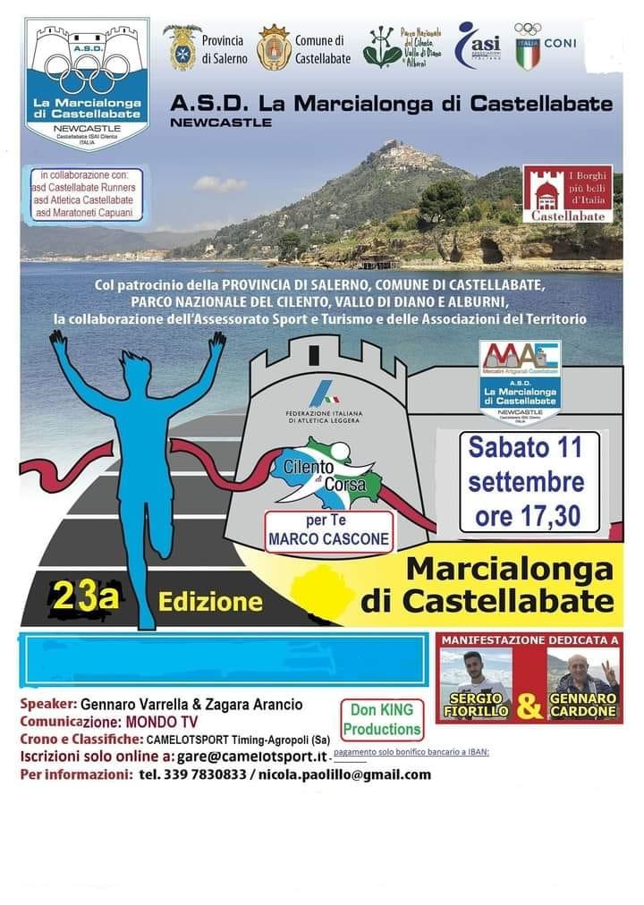 23 marcialonga Castellabate 2021 Cilento gara podistica Locandina - 23° Marcialonga di Castellabate - 11/9/21