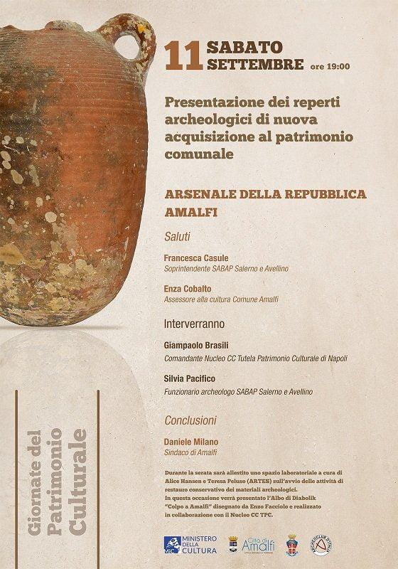 Locandina Amalfi - AMALFI, Dai fondali marini della Costiera 110 reperti archeologici arricchiranno il museo dell'Arsenale della Repubblica di Amalfi