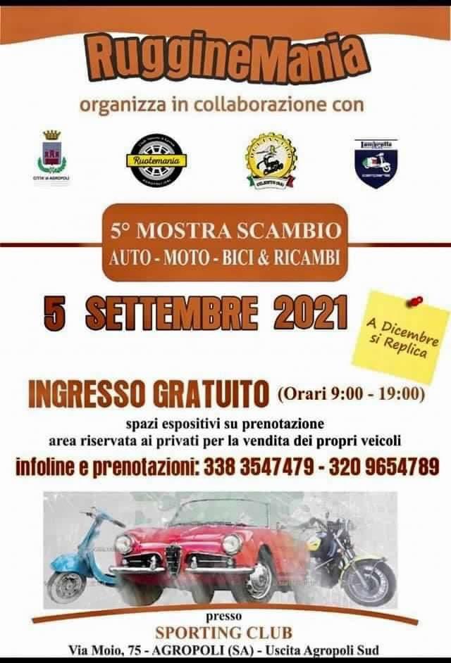 locan - Agropoli, Rugginemania: Mostra Scambio auto, moto & ricambi - 5/9/21