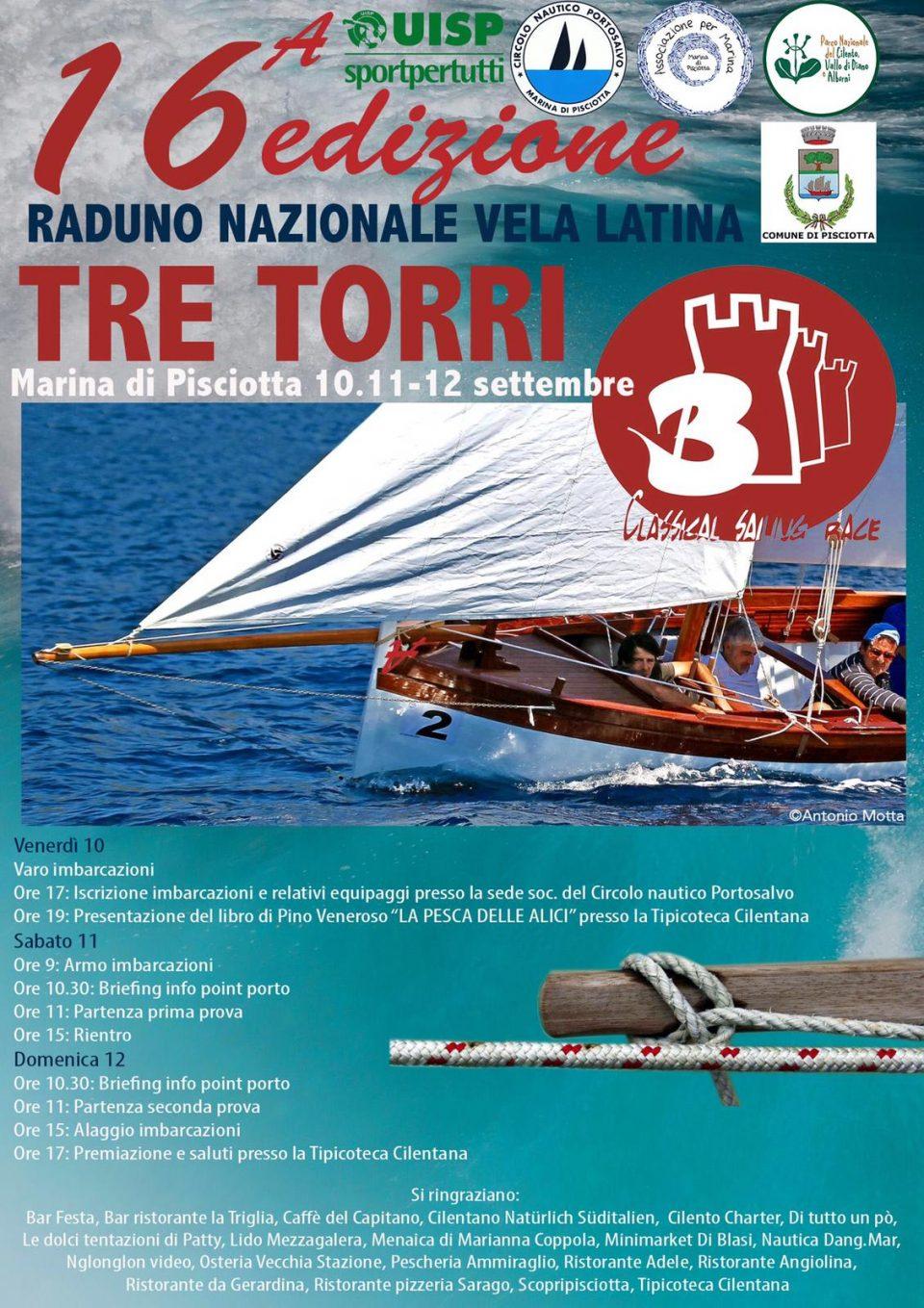 locandina 960x1359 - Marina di Pisciotta (SA), 16^ ed. Raduno Nazionale vela latina Tre Torri - 10 11 e 12 settembre 2021