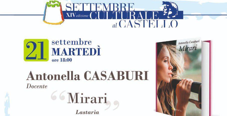 """Agropoli, Settembre Culturale – Presentazione di """"Mirari"""", il romanzo che narra il Cilento"""