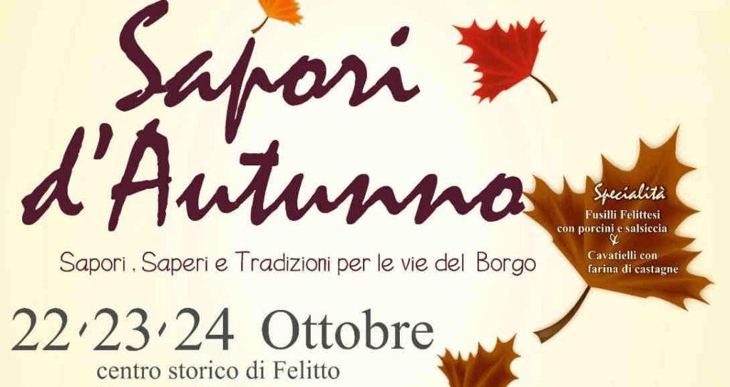 sapori 1024x543 - Felitto, 14° Sapori d'autunno: il programma - dal 22 al 24/10/21