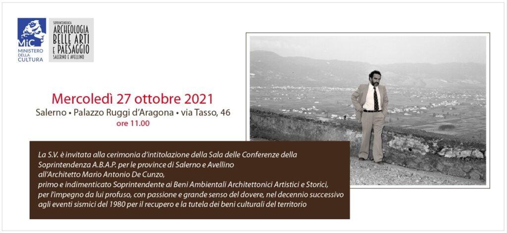 Salerno, cerimonia intitolazione sala conferenze della Soprintendenza ABAP di Salerno all'arch. Mario A. De Cunzo