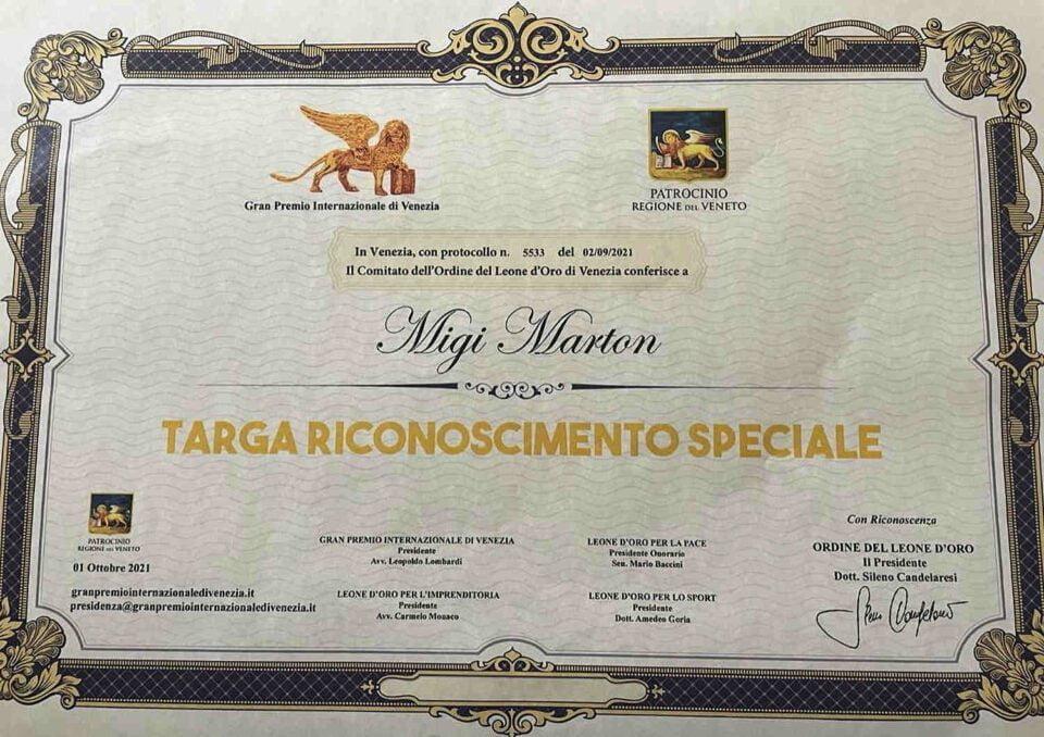 targa 960x678 - L'asceota Migi Marton premiato al Gran Premio internazionale di Venezia